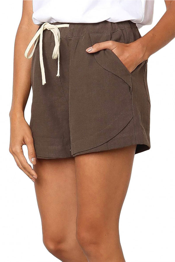Solid High Waisted Pocket Shorts Coffee