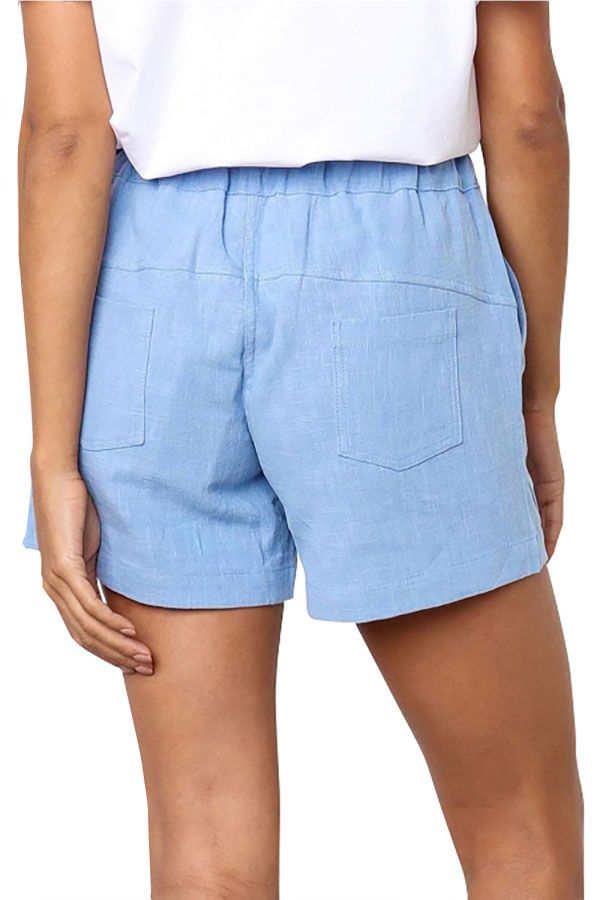 Drawstring High Waisted Casual Shorts Light Blue