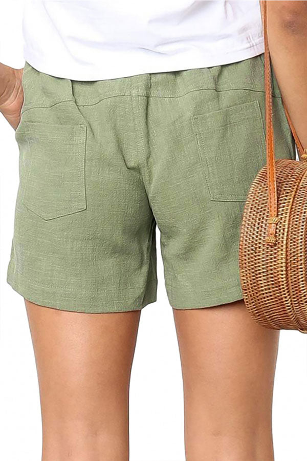 Solid Drawstring High Waisted Shorts Light Green