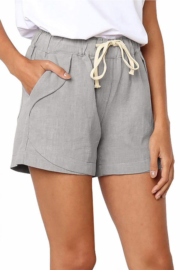 Solid High Waisted Shorts With Pocket Light Grey