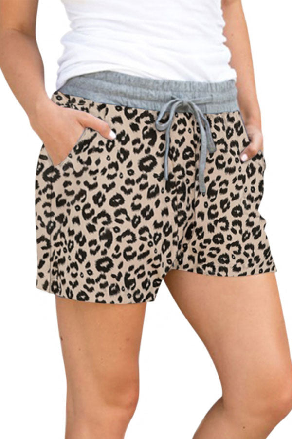 Leopard Print Drawstring Casual Pants With Shorts Chestnut