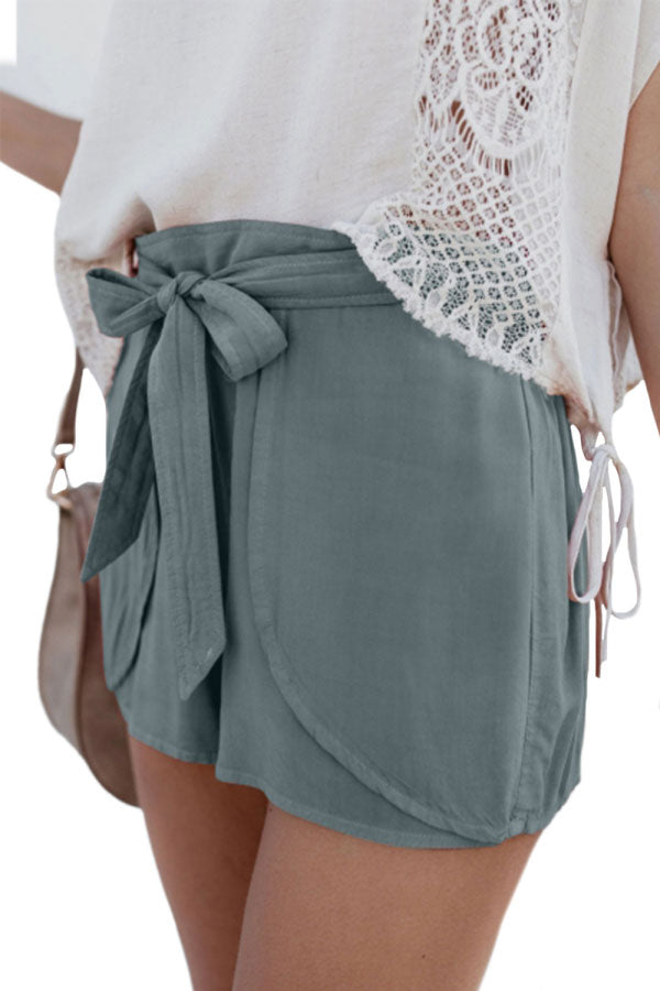 Summer Casual Elastic Waist Solid Ruffle Shorts Light Green