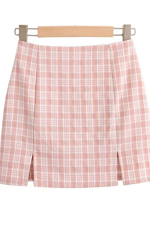 Women's Plaid Skirt Slit High Waisted Mini Skirt