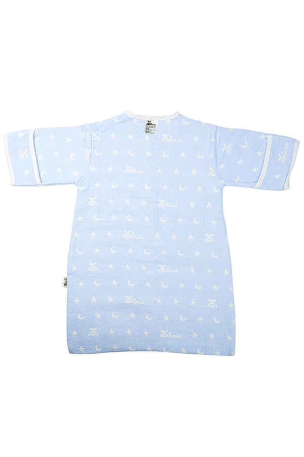 Long Sleeve Button Down Print Baby Sleeping Bag Light Blue