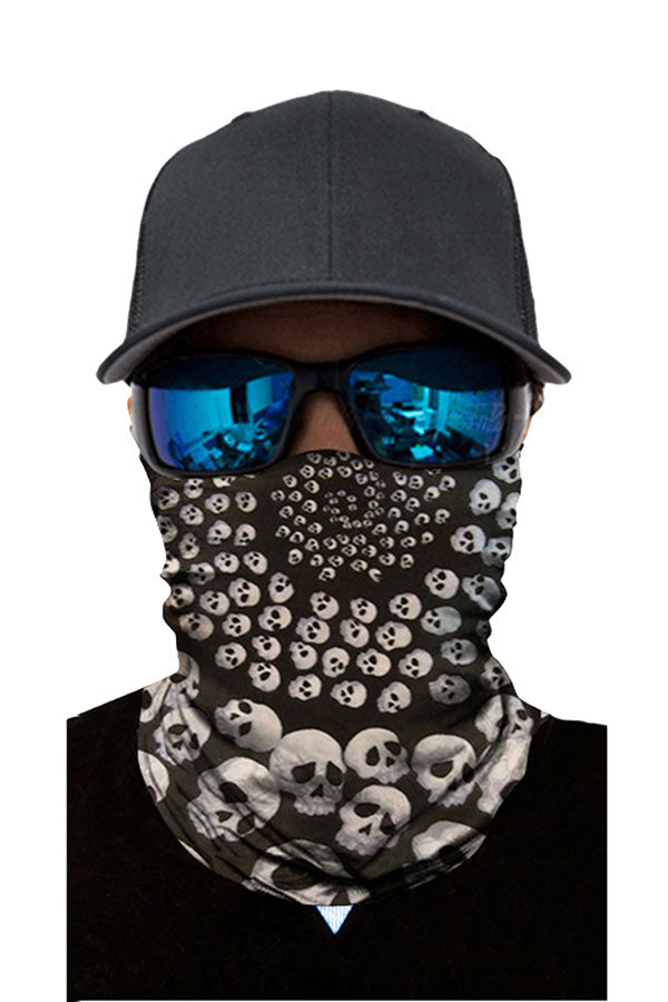 Serried Skull Print Motorcycle Neck Gaiter Gray
