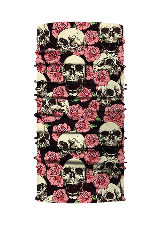 Rose Skull Print Seamless Neck Gaiter For Dust Protection