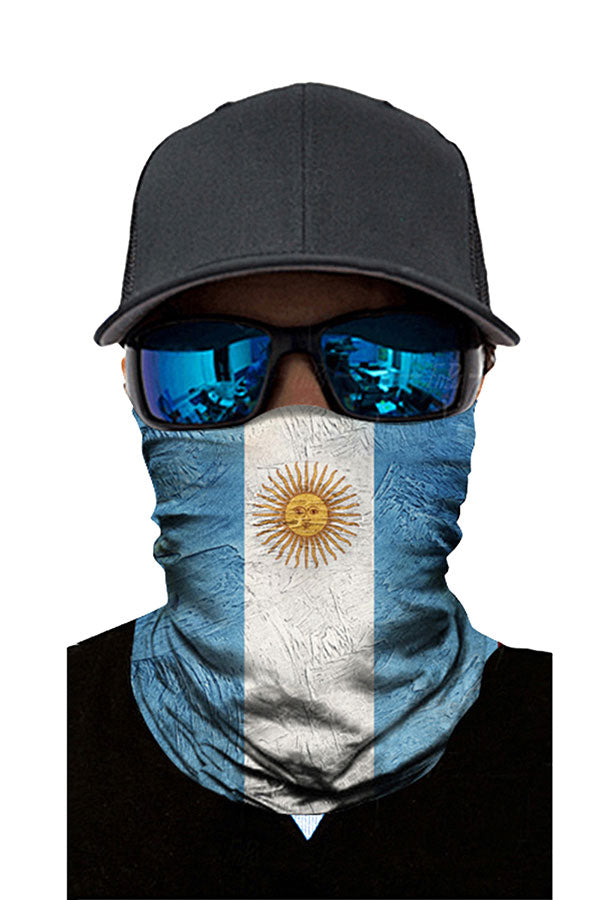 Outdoor Windproof National Flag Print Headband Neck Gaiter Light Blue