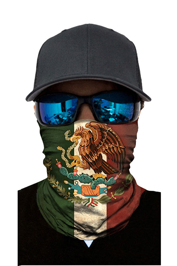 Windproof National Flag Print Motorcycle Neck Gaiter Olive