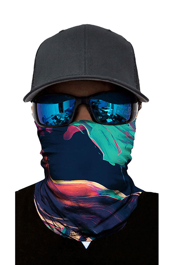 Abstract Print Motorcycle Neck Gaiter Headband Turquoise
