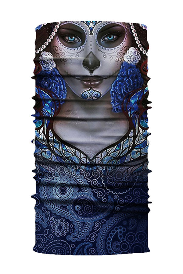 Day Of The Dead Skull Print Outdoor Neck Gaiter Gray