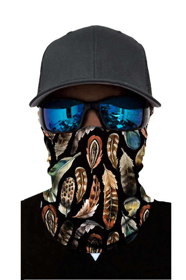 Motorcycle Neck Gaiter Feather Print Outdoor Sports Magic Scarf