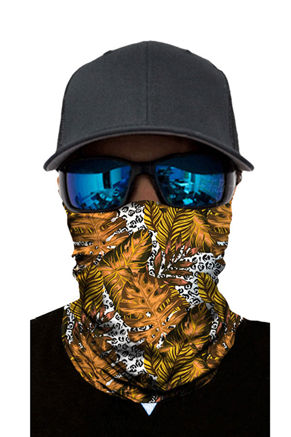 Seamless Motorcycle Neck Gaiter Leaf Print Tube Scarf