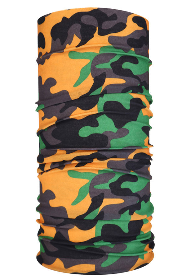 Windproof Breathable Camo Print Neck Gaiter Black
