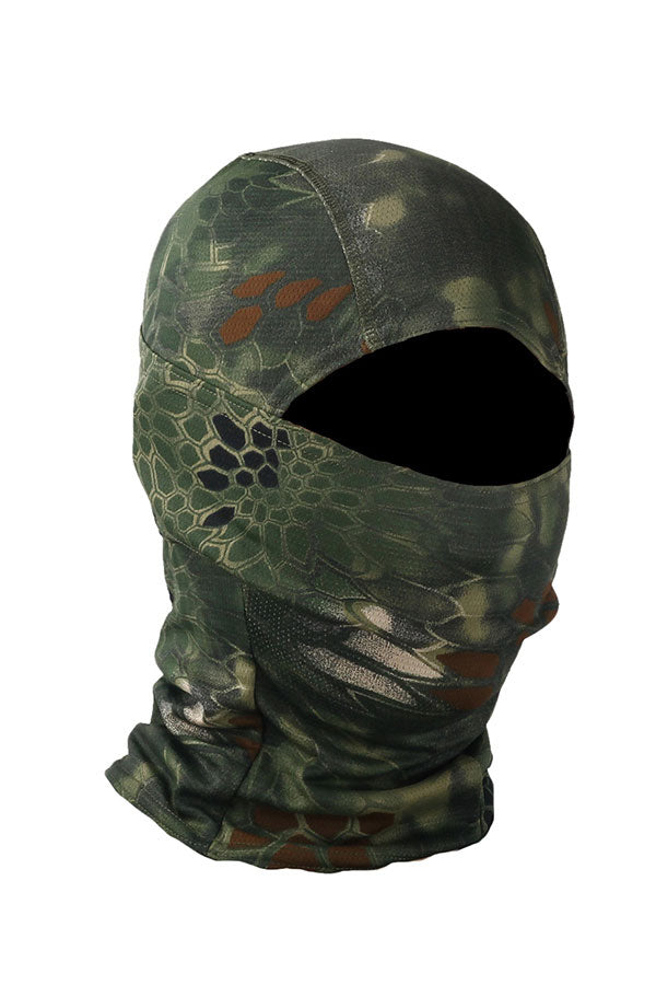 Outdoor Sports Snakeskin Print Motorcycle Balaclava Headwear Olive