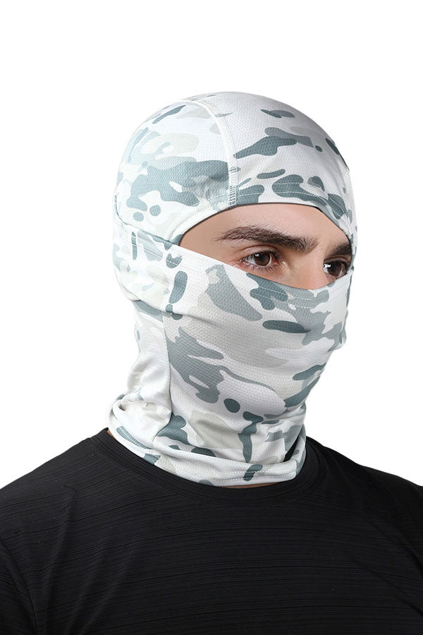 Outdoor Sports Full Face Camo Print Balaclava Headwear White