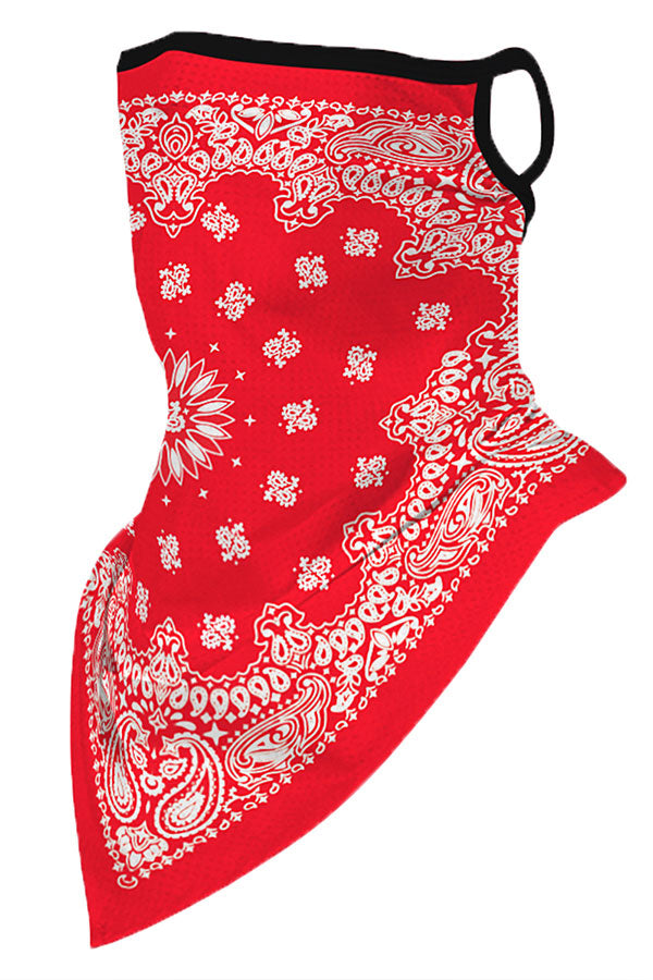 Paisley Print Neck Gaiter With Earloop For Dust Protection