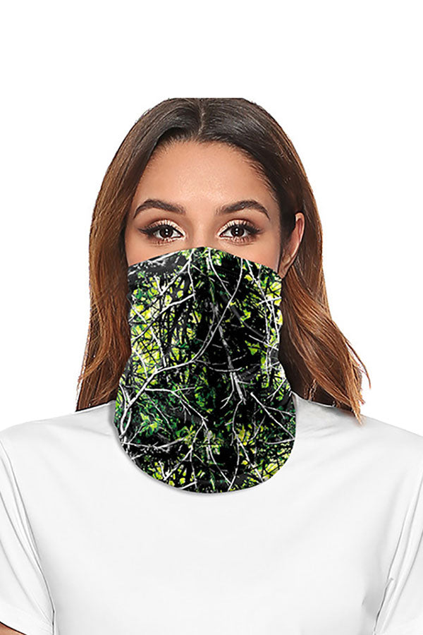 Leaf Print Motorcycle Neck Gaiter Multifunctional Magic Scarf