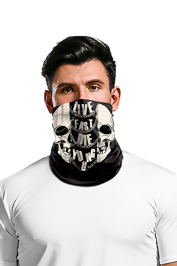 Skull And Letter Print Neck Gaiter For Outdoor Sports