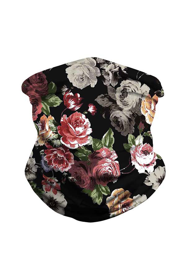 Floral Print Multifunctional Motorcycle Neck Gaiter For Dust Protection Dark Red