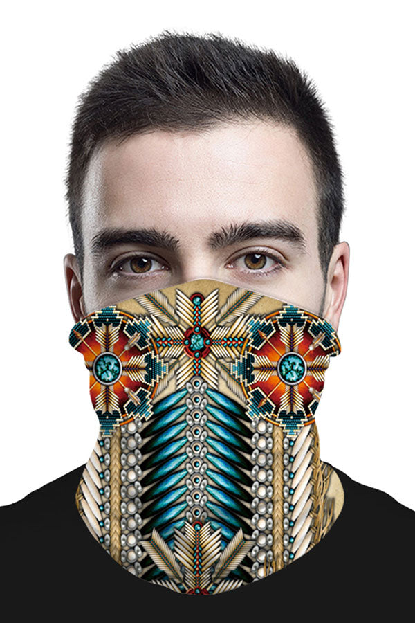 Unisex Windproof Tribal Print Neck Gaiter For Dust Protection