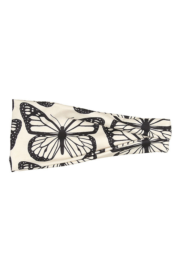 Butterfly Print Elastic Fitness Headband For Outdoor Sports Apricot
