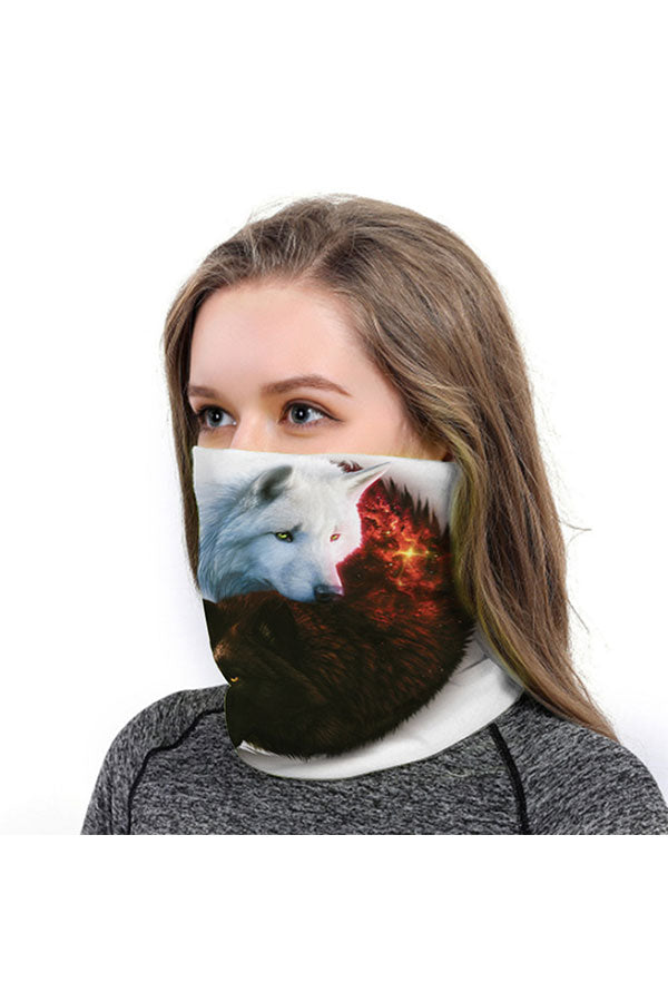 Fox Print Head Wear Animal Print Neck Gaiter For Dust Protection