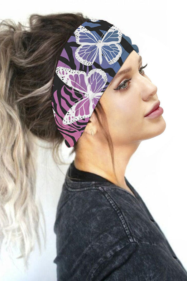 Butterfly Print Head Wrap Elastic Neck Gaiter