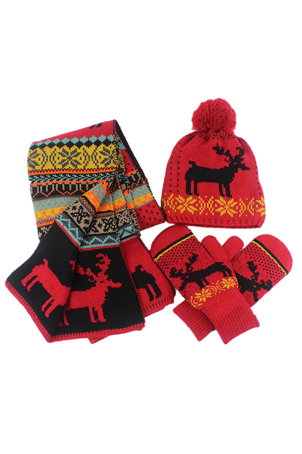 Reindeer&Snowflake Knit Christmas Beanie Gloves&Scarf 3Ps Set Red
