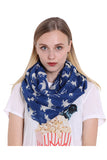 Reindeer Print Soft And Warm Christmas Shawl Scarf Navy Blue