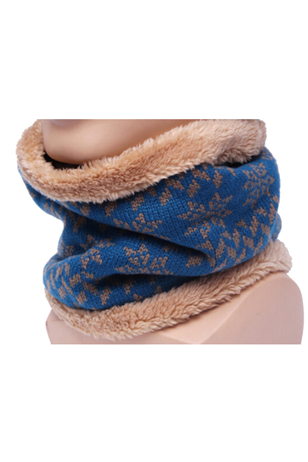 Snowflake Knit Christmas Neck Warmer Navy Blue