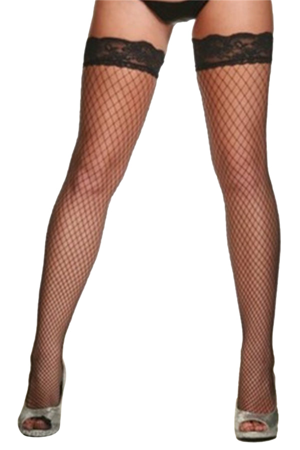 Sexy Fishnet See Through Knee High Stockings For Halloween Party Black