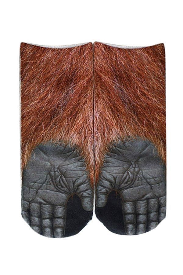 Women's Funny Gorilla Claws Print Novelty Animal Low Cut Socks