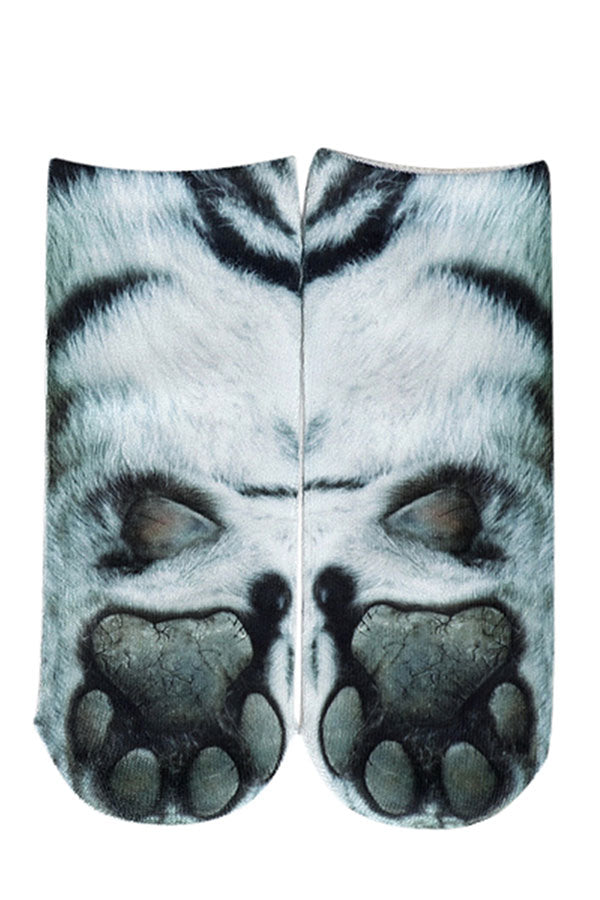 Women's Novelty Tiger Paws Print Funny Animal Low Cut Socks