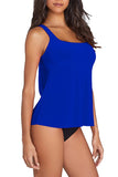 Women's Plain Cut Out Scoop Neck Tankini Set Sapphire Blue