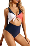 Sexy V Neck Knotted Color Block High Waisted Two Piece Swimsuit