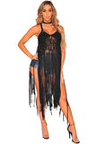 Straps V Neck Backless Fringe Crochet Beach Dress Black
