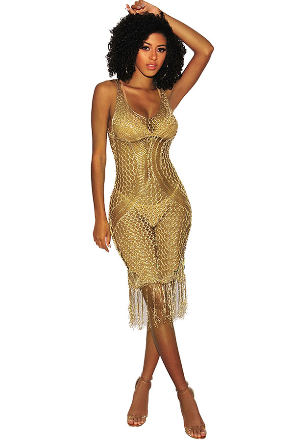 Sexy V Neck Cut Out Fringe See Through Plain Beach Cover-Up Dress Gold