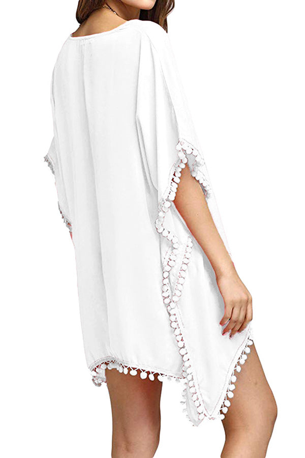 V Neck Pom Pom Trim Crochet Patchwork Plain Beach Dress White