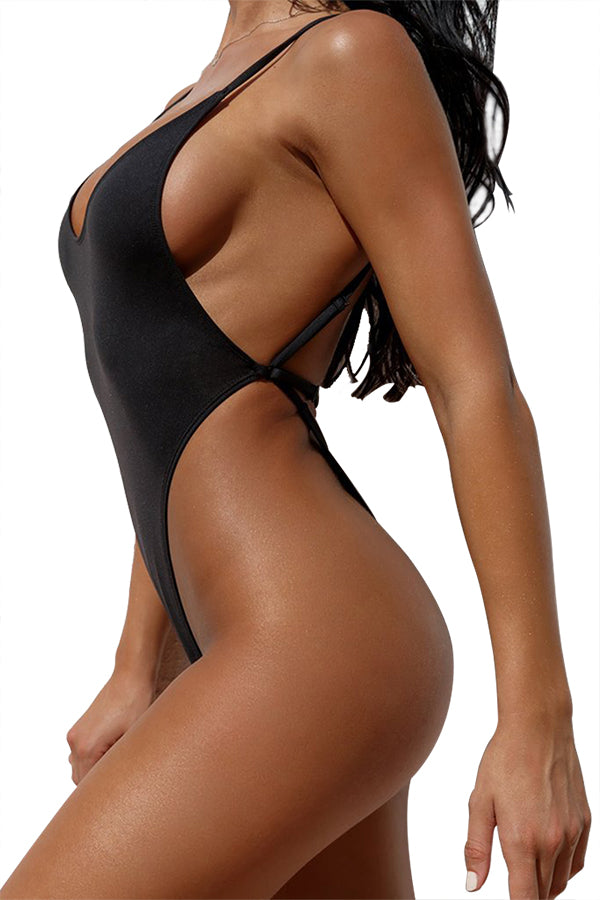 Backless High Cut Thong One Piece Swimsuit Black