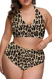 Plus Size Halter Leopard High Waisted Two Piece Swimsuit Brown