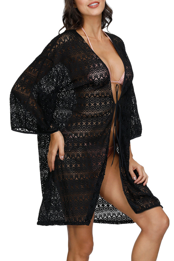 Solid Open Front Crochet 3/4 Sleeve Beach Cover Up Black