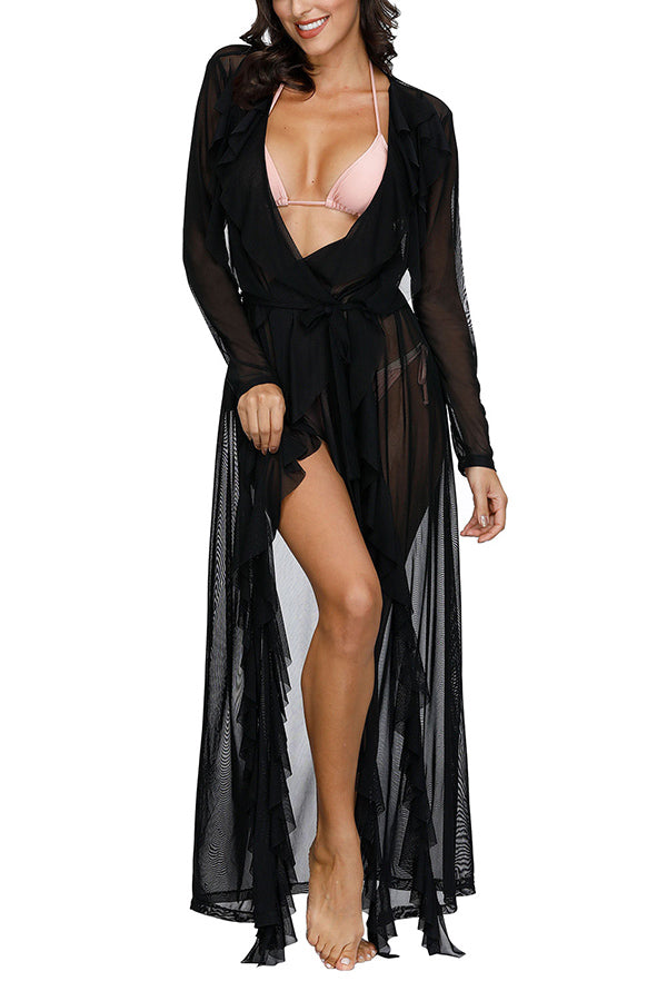 Long Sleeve Sheer Open Front Maxi Beach Cover Up Black