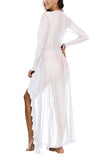 Summer Ruffle Trim See Through Maxi Cardigan Cover Up White