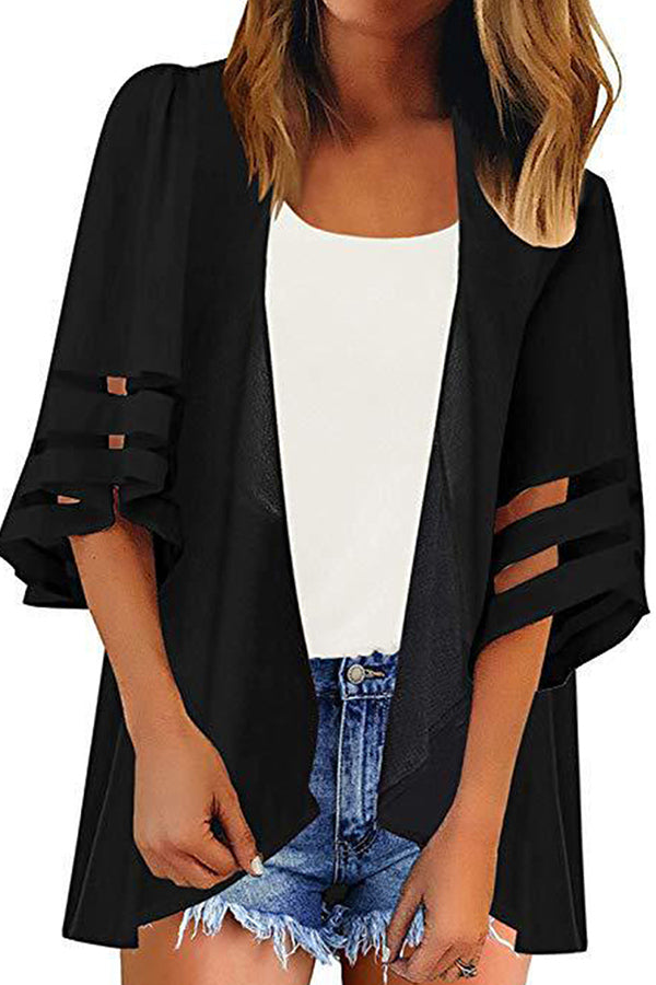 Beach Sheer Open Front Half Sleeve Solid Cover Up Black