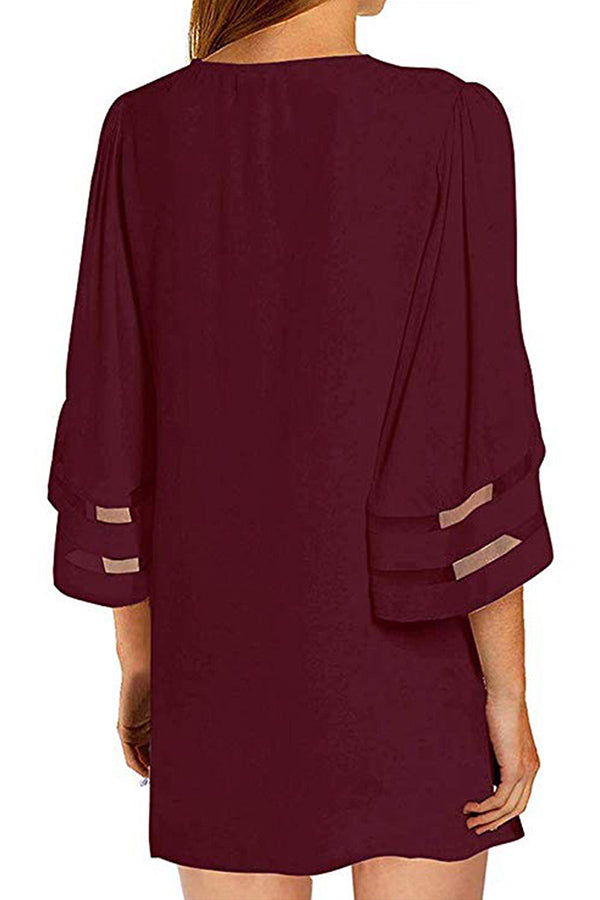 Half Sleeve Open Front Mesh Plain Summer Kimono Cover Up Dark Red