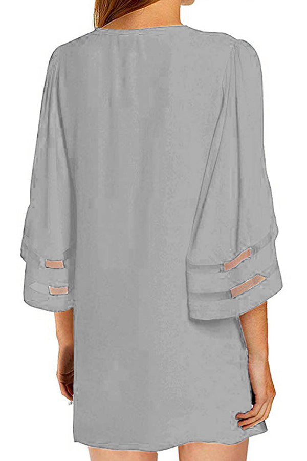 Open Front Solid Half Sleeve Mesh Summer Beach Cover Up Grey