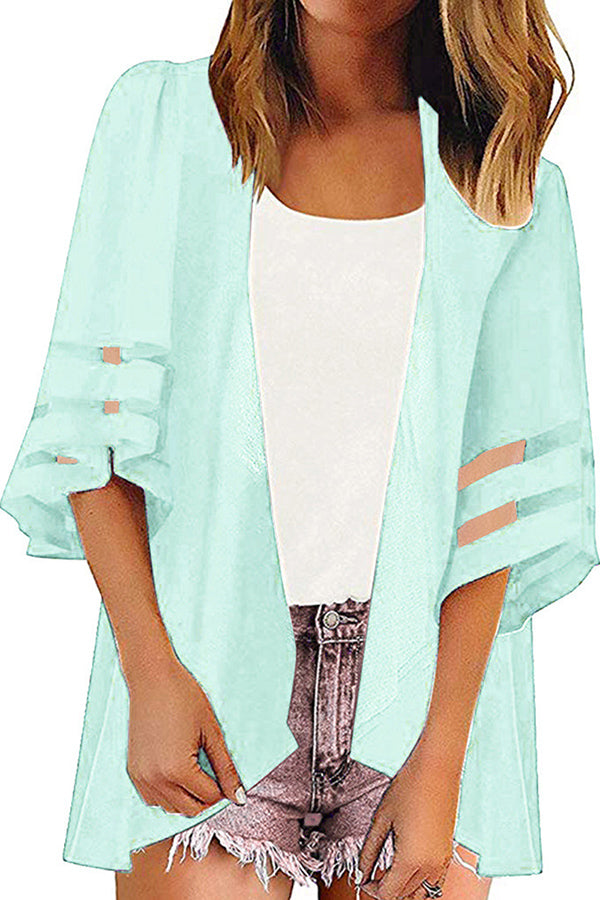 Summer Half Sleeve Plain Beach Open Front Kimono Cover Up Light Blue