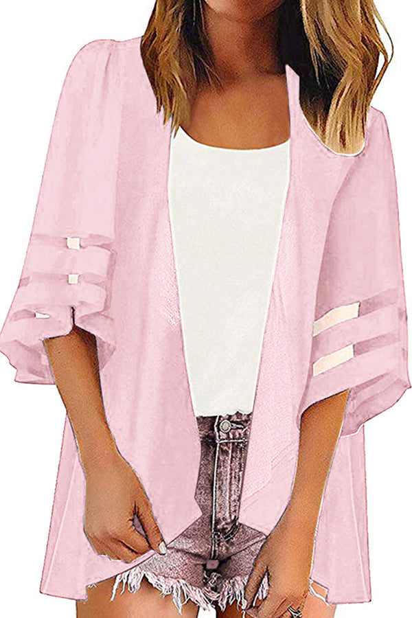 Summer Open Front Solid Half Sleeve Mesh Cardigan Cover Up Grey
