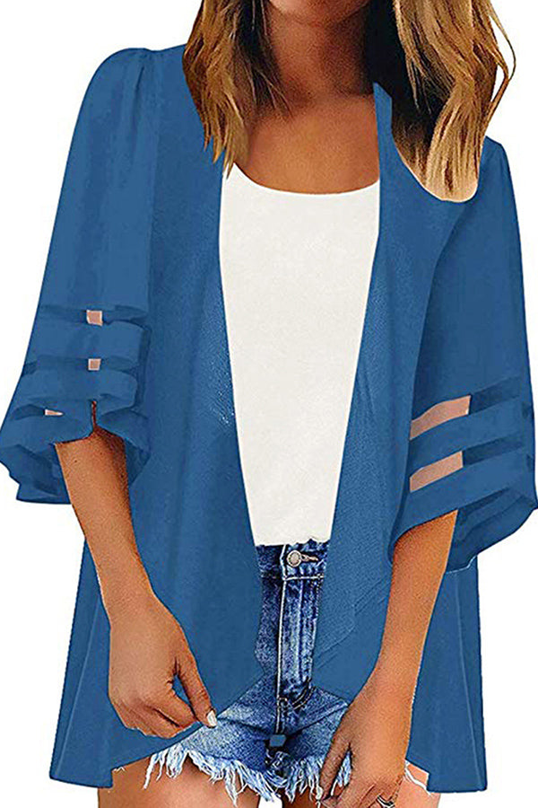 Sheer Half Sleeve Open Front Summer Solid Cover Up Sapphire Blue