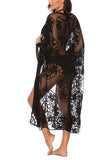 Open Front Sheer Mesh Floral Lace Kimono Cover Up Black